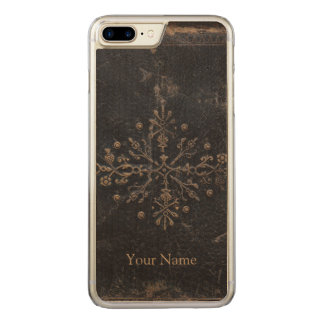 Antique Faded Gold Leaf iPhone 6 Plus Wood Carved iPhone 7 Plus Case