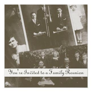 "Antique Family Reunion Generic Invitations 5.25"" Square Invitation Card"
