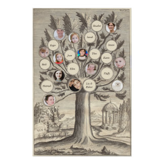 Antique Family Tree Insert Your Own Names & Photos Poster