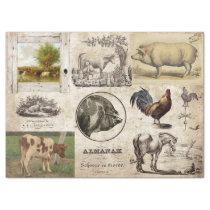 ANTIQUE FARM ANIMALS COLLAGE TISSUE PAPER