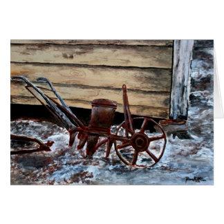 antique farm plow seeder folk art american greeting card