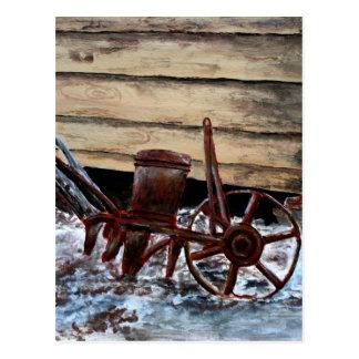 antique farm plow seeder folk art american postcard