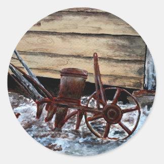 antique farm plow seeder folk art american round sticker