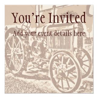 Antique Farm Tractor Custom Invitations