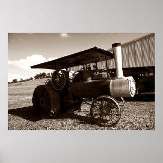 Antique Farm Tractor Metal Wheels Sepia print