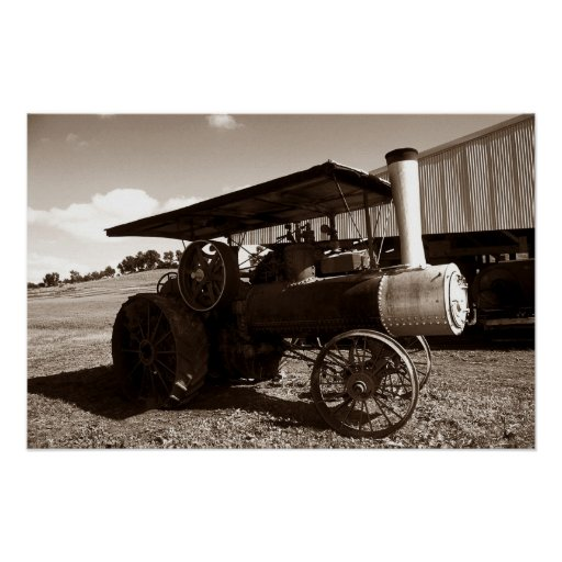 Old Metal Wheels With Tractor : Antique farm tractor metal wheels sepia print zazzle