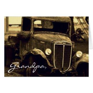 Antique Farm Truck Sepia Photograph card