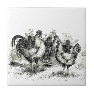 Antique Farming Scene Rooster and Hen Ceramic Tile