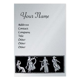 ANTIQUE FASHION MONOGRAM ,silver,platinum metallic Large Business Cards (Pack Of 100)