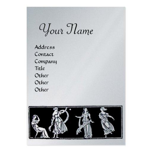 ANTIQUE FASHION MONOGRAM ,silver,platinum metallic Business Card Template