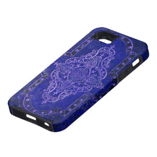 Antique faux Blue Leather Book Cover iPhone 5 Case