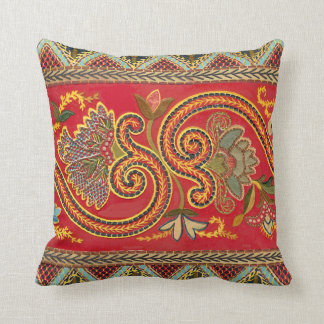 Antique Faux Crewel Vintage Elegant Design Throw Pillow