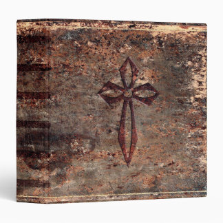 Antique Faux Leather Cross 3 Ring Binder