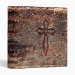 Antique Faux Leather Cross Vinyl Binder