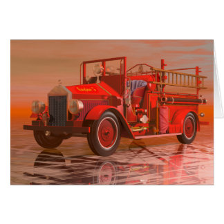 Antique fire engine card
