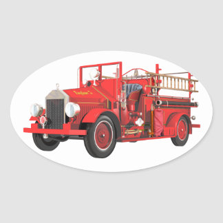 Antique Fire Engine Oval Sticker