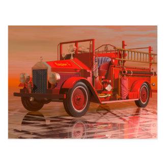 Antique fire engine postcard