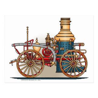 Antique Fire Truck Steam Pumper Postcard