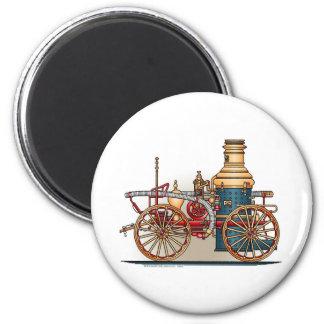 Antique Fire Truck Steam Pumper Round Magnet