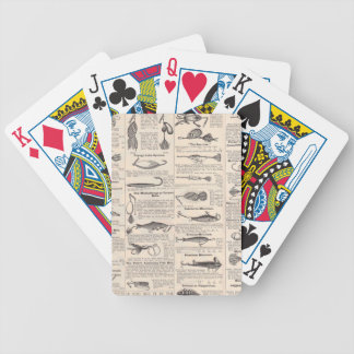 Antique Fishing News Typography Graphic Design Bicycle Playing Cards