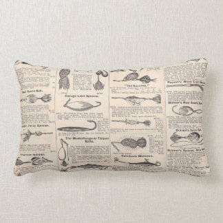 Antique Fishing News Typography Graphic Design Lumbar Pillow