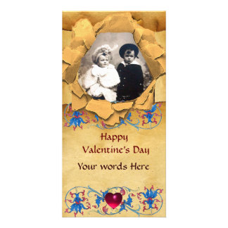 ANTIQUE FLORAL AND HEART VALENTINE DAY PARCHMENT CARD