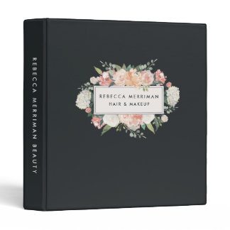 Antique Floral Blush & Charcoal 3 Ring Binder
