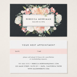 Antique Floral Blush & Charcoal | Appointment Business Card