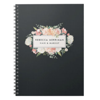Antique Floral Blush & Charcoal Notebook