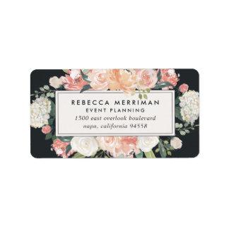 Antique Floral Blush & Charcoal Return Address Label