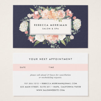 Antique Floral Blush & Navy | Appointment Business Card