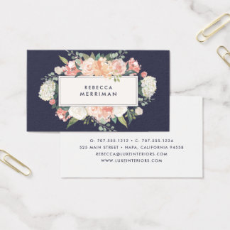 Antique Floral Blush & Navy Business Card