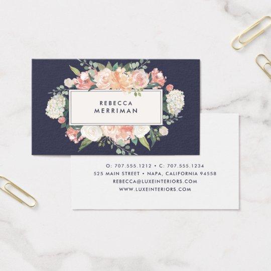 Antique floral blush navy business card zazzle antique floral blush navy business card colourmoves