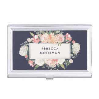 Antique Floral Blush & Navy Case For Business Cards