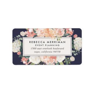 Antique Floral Blush & Navy Return Address Label