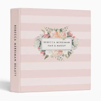 Antique Floral Blush Pink Stripe Binder