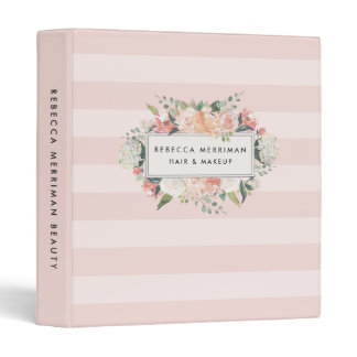 Antique Floral Blush Pink Stripe Binder