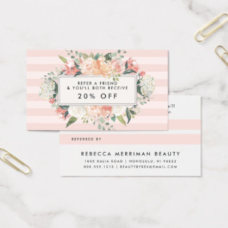 Antique Floral | Blush Pink Stripe Referral Business Card