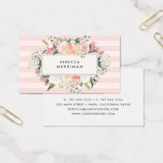 Antique Floral & Blush Stripe Business Card