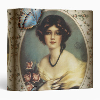 Antique Floral Butterfly Old fashion Paris Lady 3 Ring Binder