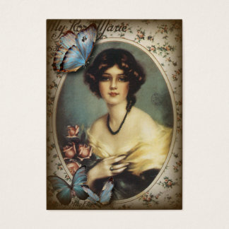 Antique Floral Butterfly Old fashion Paris Lady Business Card