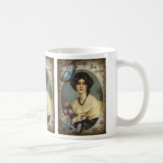 Antique Floral Butterfly Old fashion Paris Lady Coffee Mug