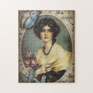 Antique Floral Butterfly Old fashion Paris Lady Jigsaw Puzzle