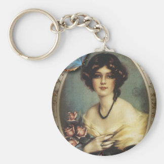 Antique Floral Butterfly Old fashion Paris Lady Keychain