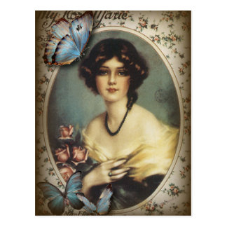 Antique Floral Butterfly Old fashion Paris Lady Postcard