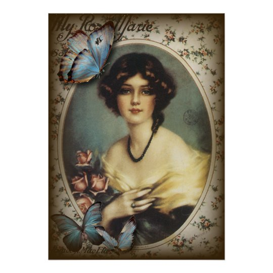 Antique Floral Butterfly Old fashion Paris Lady Poster