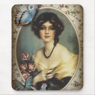 Antique Floral butterfly parisian girl victorian Mouse Pad