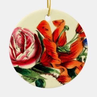Antique Floral Design Ceramic Ornament