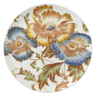 Antique Floral Design Plastic Picnic Plate
