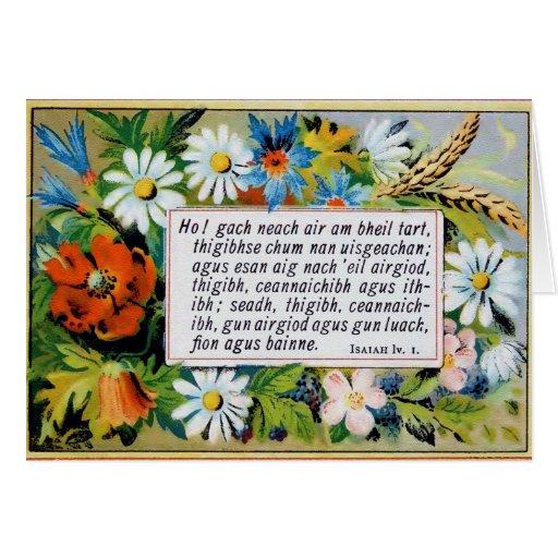 Antique floral Gaelic bible verses Card